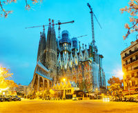 Overview with Sagrada Familia basilica at sunrise