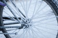 Bicycle covered in frost close-up at winter day