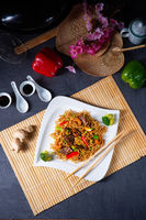 Fried Mie noodles with beef and vegetables.