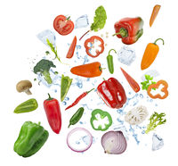 Colorful fresh vegetables on white background