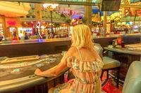 Woman at blackjack table