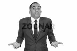 Mature handsome Persian businessman shrugging in black and white
