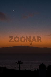 beautiful view on la gomera island and sky while sunset