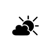 Sun and clouds. Isolated icon. Weather vector illustration