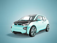 Modern electric car in front of a blue perspective 3d render on a blue background with a shadow
