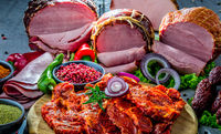 Composition with assorted meat products including ham