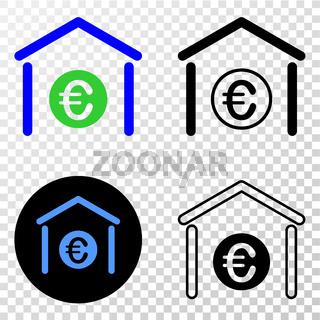 Euro Bank Vector EPS Icon with Contour Version