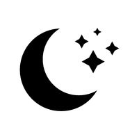 Vector icon of moon without background. Black sign of moon. Black icon. Night. Flat design. EPS 10.