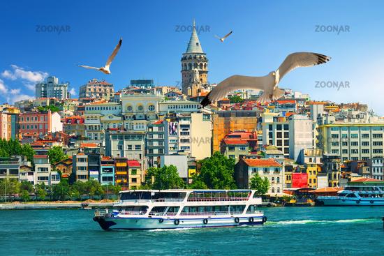 Galata Tower and boats
