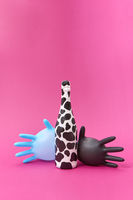Two balloon latex gloves with spotted wine bottle painted.