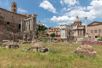 Panoramic view of Roman forum, also known by Forum Romanum or Foro Romano