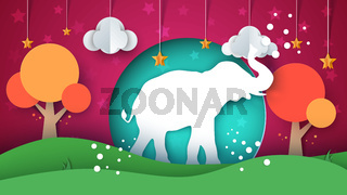 Cartoon paper landscape. Elephant illustration.