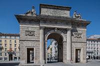 Milan, Italy - 30 June 2019: View of Porta Garibaldi, Piazza 25 Aprile