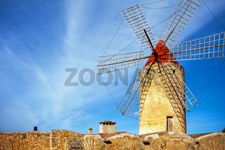 An old windmill in Algadia Mallorca Spain