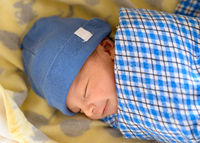Eurasian newborn baby sleeping