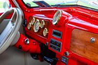 Antique classic car red dashboard
