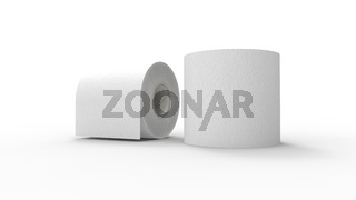 3d rendering of two toilet paper rolls isolated in a studio background