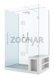modern shower cabin isolated on white background