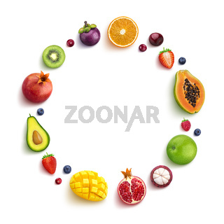 Various fruits and berries isolated on white background, top view, round frame of fruits