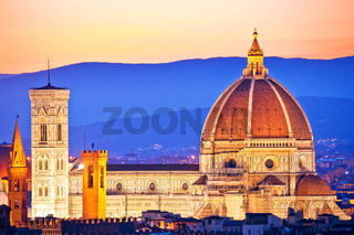 Florence Duomo aerial sunset view