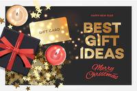 Christmas Sale. Best gift ideas. Black gift box on dark background, design 2020. Vector illustration.