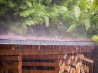 Regen Unwetter im Sommer im Garten