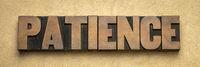patience word in letterpress wood type