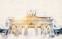 watercolor Brandenburger Tor
