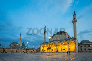 Selimiye Mosque with Konya town square st night in Konya, Turkey