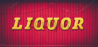 Retro Red Liquor Store Sign
