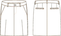 Vector illustration of women s jeans skirt. Front and back views