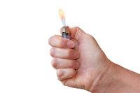 Feuerzeug in einer Hand