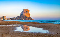 Panoramic view of Calpe beach and Penon de Ifach rock, Valencia, Spain