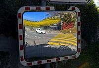 Verkehrsspiegel,  Weindorf Fechy mit Weinbergen, Weinbaugebiet La Côte, Waadt, Schweiz