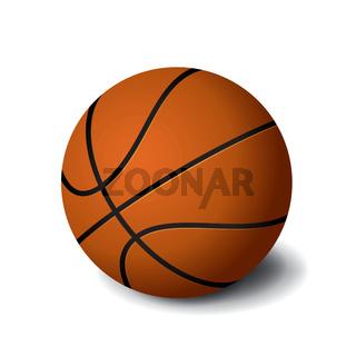 Orange basketball ball icon isolated on white background, sports equipment, vector illustration.