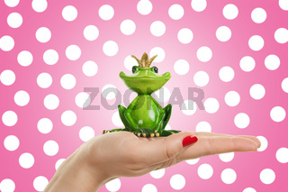 Female hand is holding frog prince, concept for dating, love and valentines day
