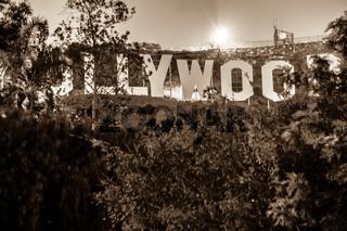 hollywood sign lit at night