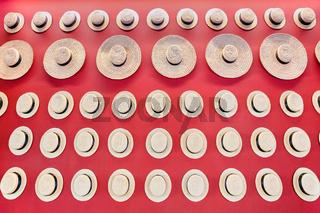 Many summer hats hanging at red wall