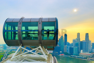 Aerial view Singapore Flyer Downtown