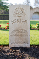 Tombstone of Muslim Singaporean soldierat Heliopolis Commonwealth War Cemetery, Cairo, Egypt