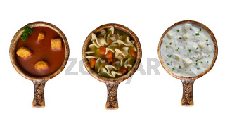 Overhead view of three bowls of soup Clam Chowder, Tomato and Chicken Noodle, isolated on white.