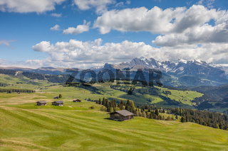Mountain panorama on the Alpe di Siusi