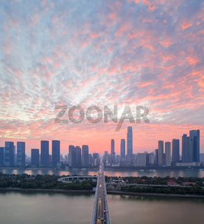 beautiful changsha city with morning glow