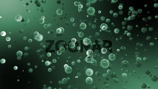 Abstract Graduated Green Background With Floating Balls