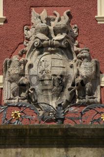 Wappen auf Schloss Muskau in Bad Muskau, Fürst Pückler Park, Sachsen, Deutschland