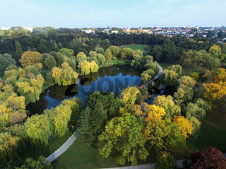 Aerial view over the Volkspark Laaer Berg in Vienna/ Austria. Travel and vacation concept.