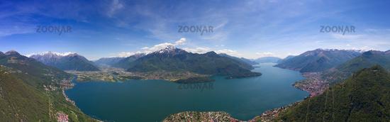 Aerial panorama landscape on Como lake