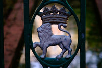 Typical lion metal figure from public fences in Pamplona, Spain