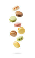 Colorful and falling French Macarons