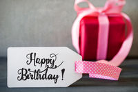 Pink Christmas Gift, Label With Calligraphy Happy Birthday